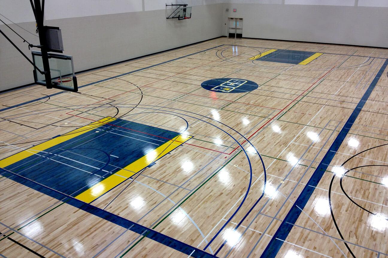 Gymnasium flooring Action hardwood at Bearspaw Christian School (Calgary, Alberta)