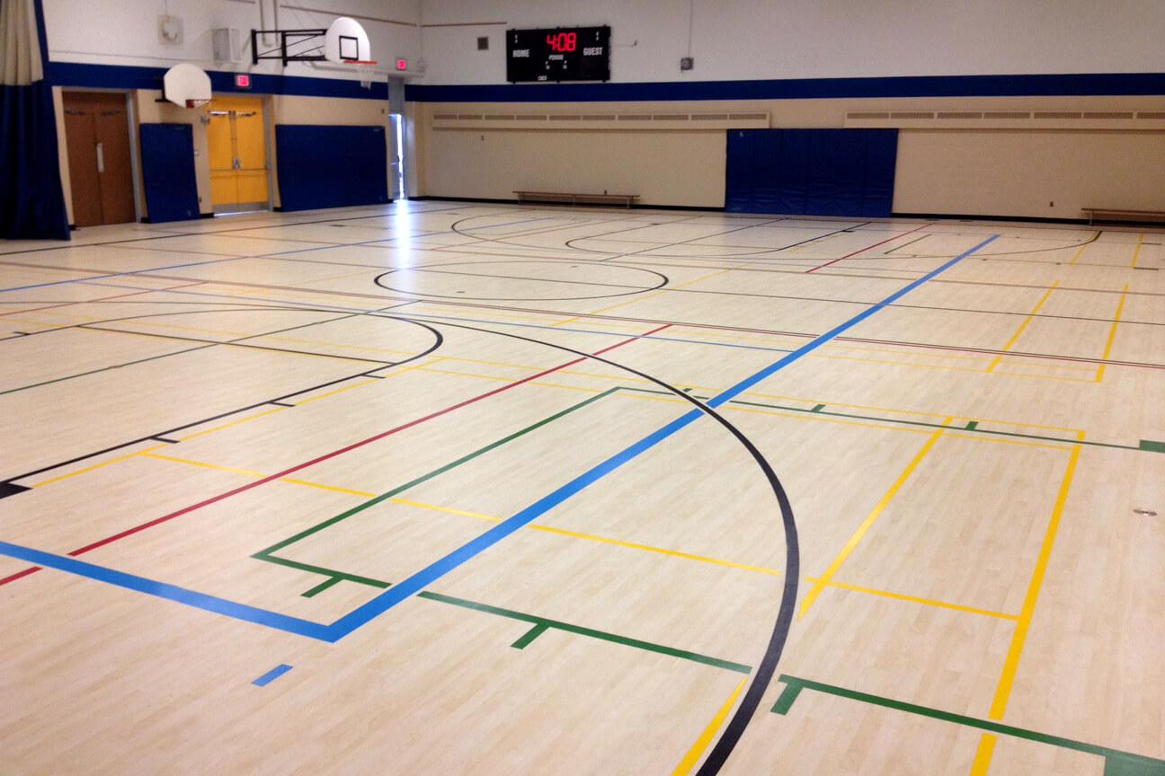 Gymnasium flooring Omnisports 8.3 at Belle River Public School (Lakeshore, Ontario)