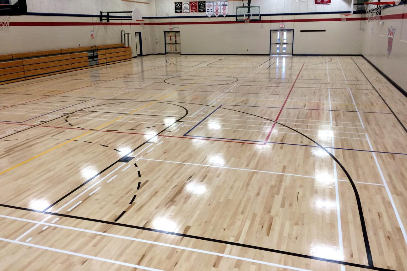 Gymnasium flooring Action hardwood at Central Huron High School (Clinton, Ontario)
