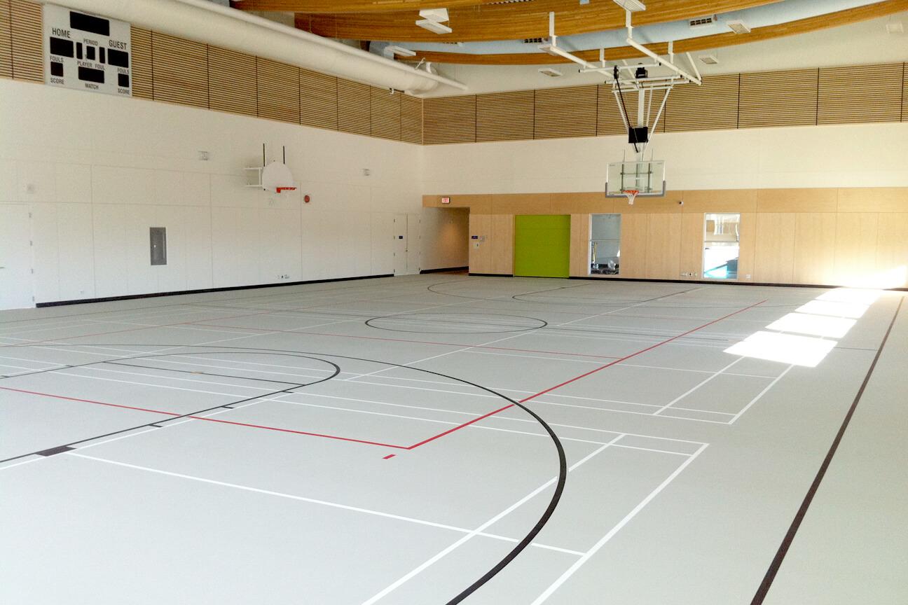 Gymnasium flooring poured polyurethane at Cloverdale Recreation Centre (Surrey, British Columbia)