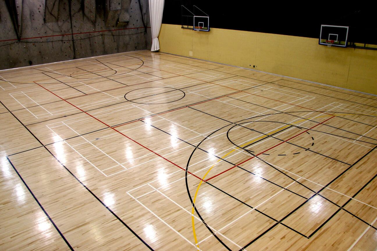 Gymnasium flooring Action hardwood at Dawson College (Montreal, Quebec)