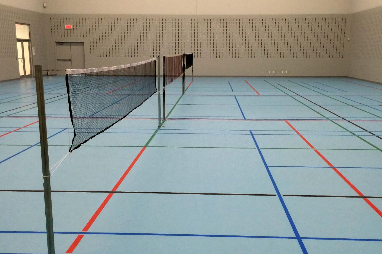 Gymnasium flooring poured polyurethane at a corporate centre (Varennes, Quebec)
