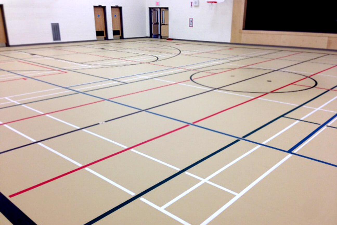 Gymnasium flooring poured polyurethane at Macleod Public School (Sudbury, Ontario)