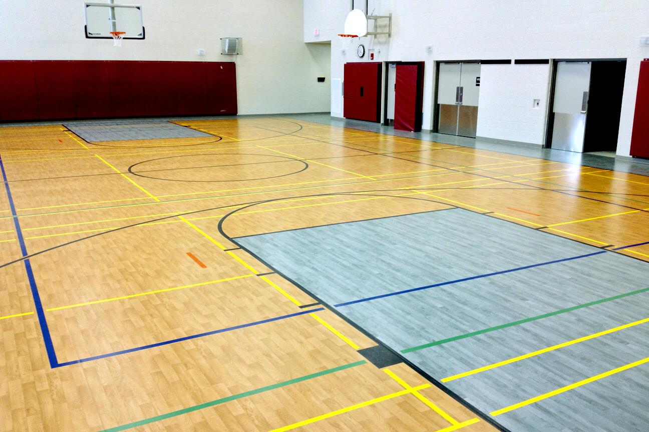 Gymnasium flooring Omnisports 8.3 at St-Josephine Bakhita Elementary School (Brampton, Ontario)