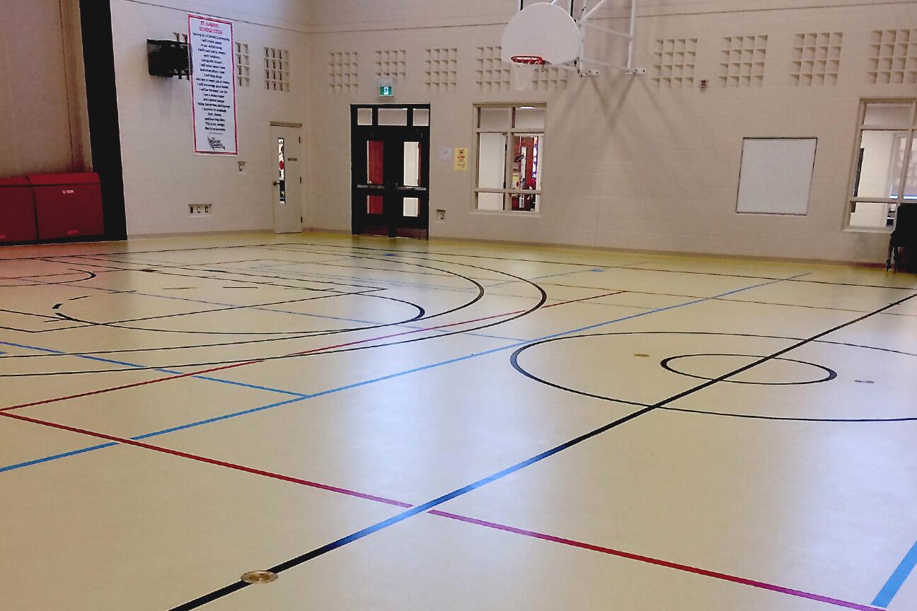 Gymnasium flooring poured polyurethane at St. Gabriel Elementary School (Stoney Creek, Ontario)