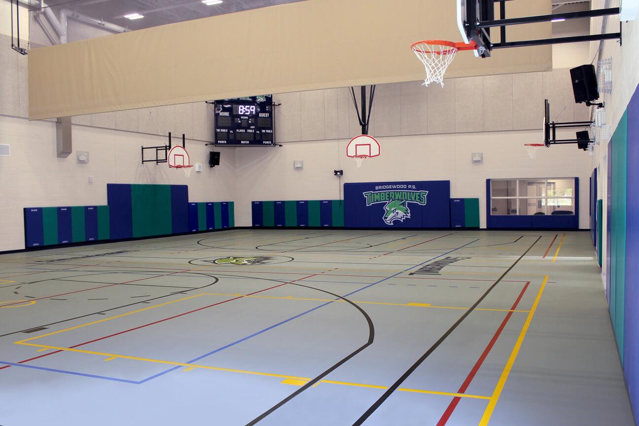 Gymnasium flooring poured polyurethane at Bridgewood Public School (Cornwall, Ontario)