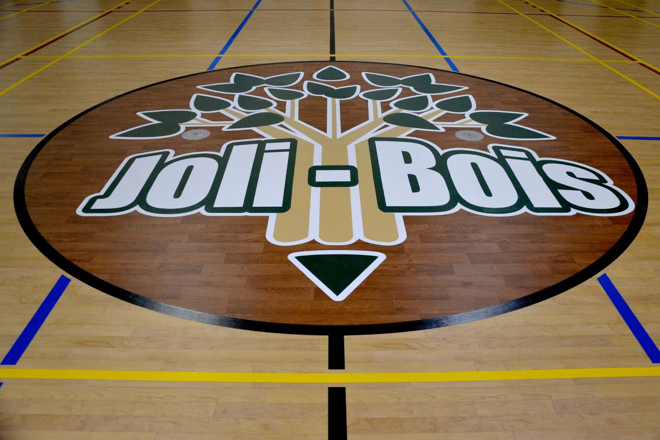 Logo central en peinture pour lignage sportif à l'école Joli-Bois (Sainte-Sophie, Québec)
