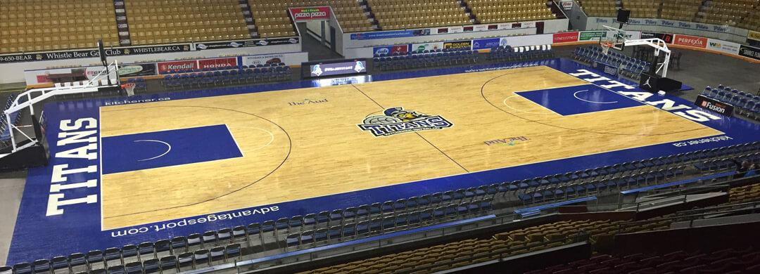 Hardwood basketball court for the Titans