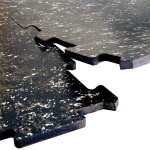Interlocking feature on rubber tiles