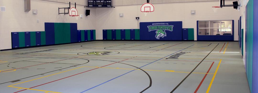 Poured polyurethane gymnasium flooring