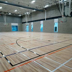 Wood sports flooring in a gymnasium