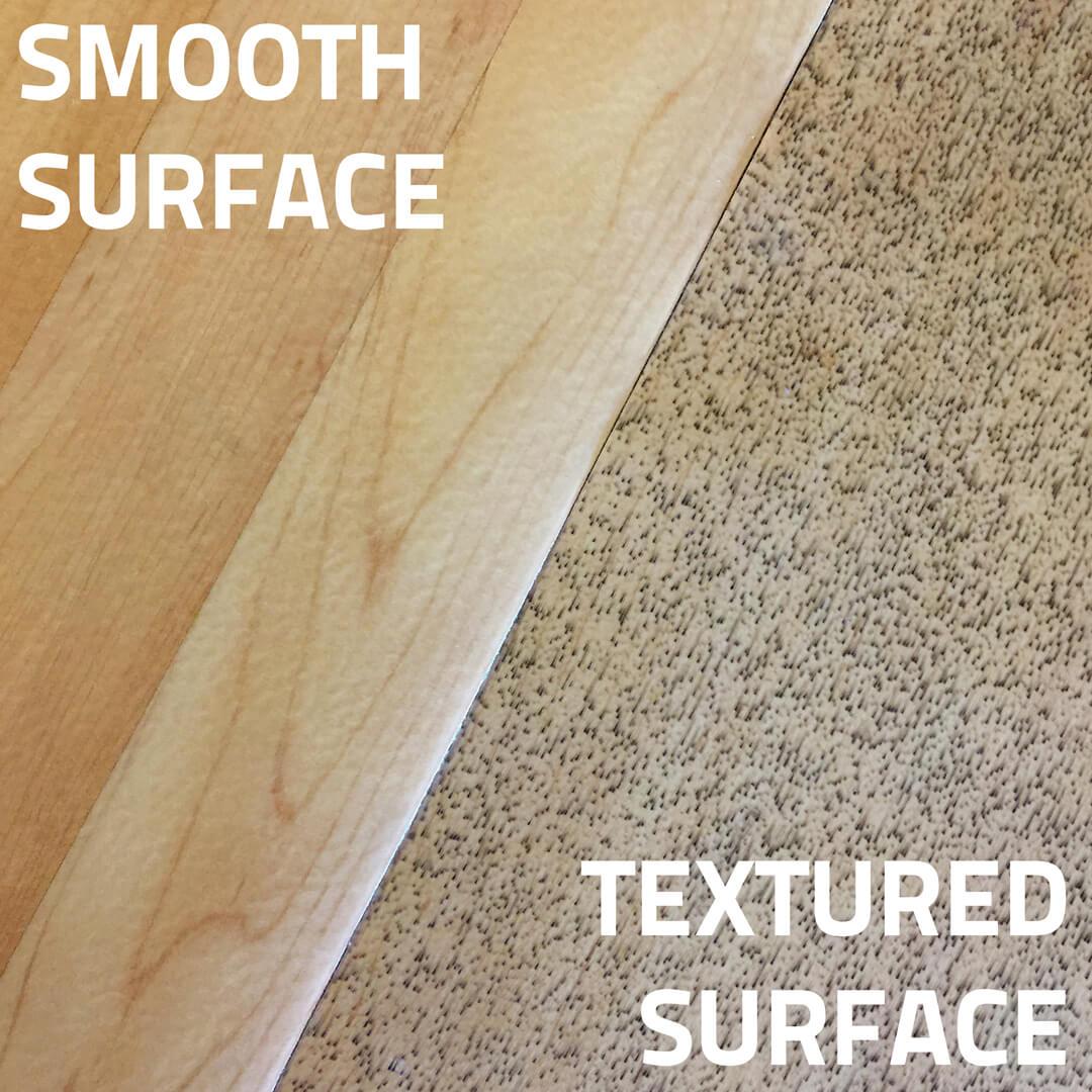 Smooth sports surfacing versus textured flooring surface